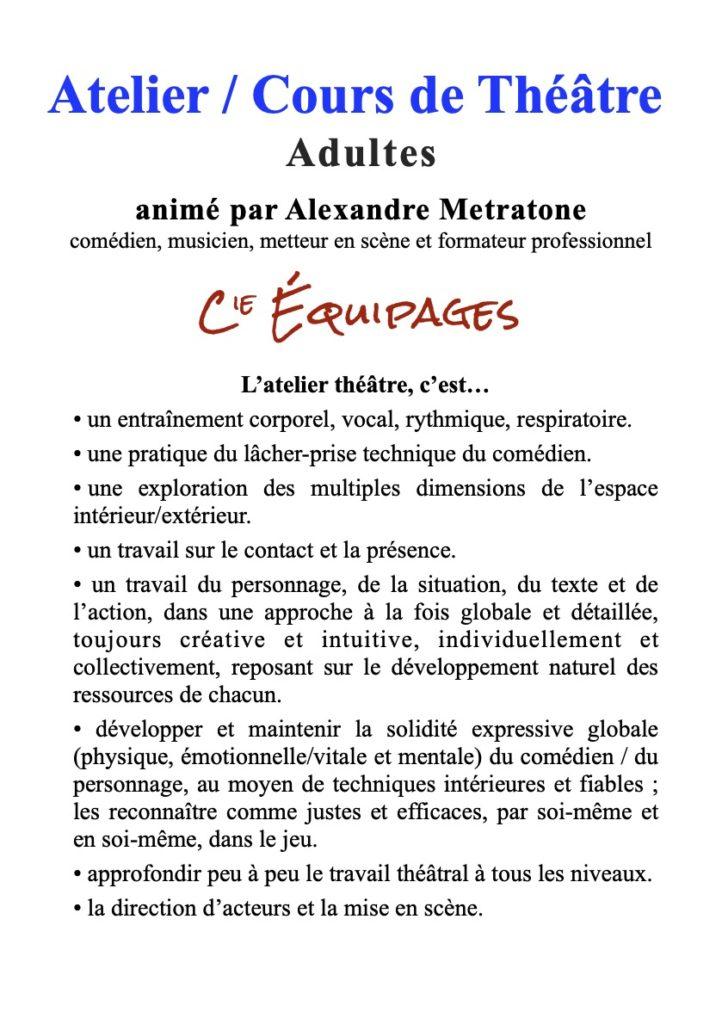 Reprise des cours de théâtre, atelier hebdomadaire @ Salle à Saintes ou dans les environs immédiats | Saintes | Nouvelle-Aquitaine | France